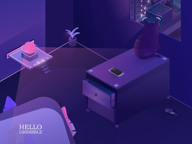 Hello Dribbble iran isometric hello illustration 2.5d room window night cat debut