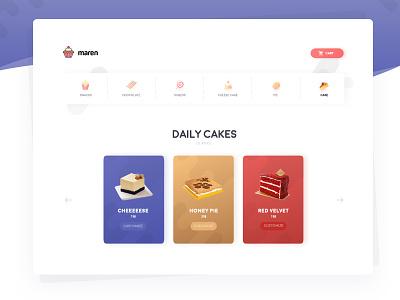 Confectionary online shop illustration website webdesign bakery ui cake shop confectionary cake