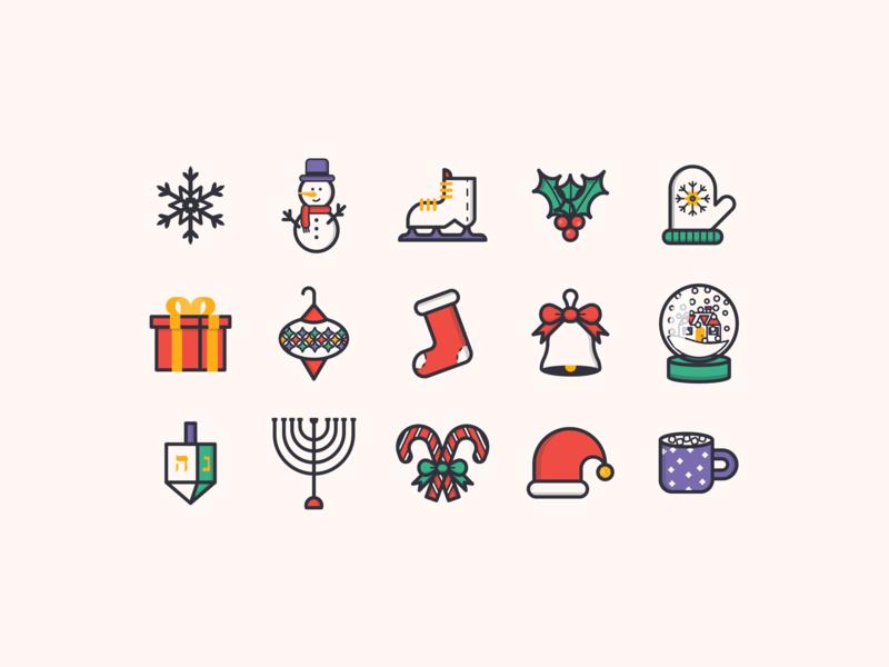 Holiday Icons! icon set santa snowman cute snowglobe hannukah santa claus line icons icons winter holiday