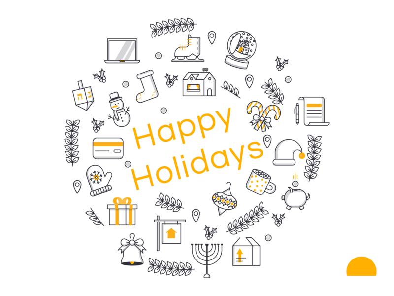 Happy Holidays! icon set line loan mortgage real estate wreath christmas line icons icons set icons holidays