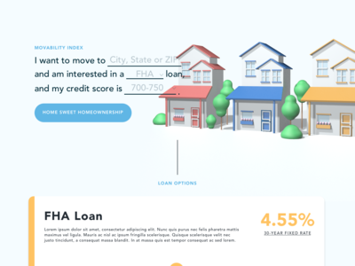 Movability Index home house c4d web moving loan houses colorful landing page hero 3d