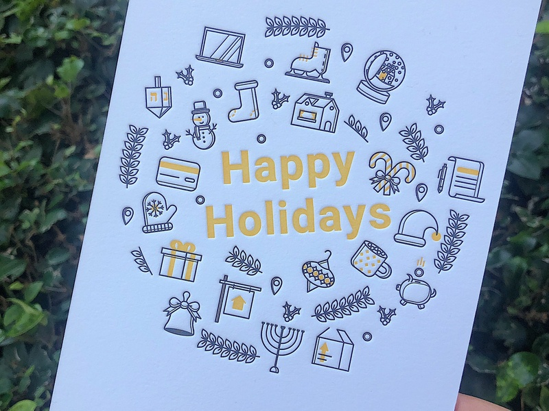Letterpress Holiday Card wreath real estate home icon set brand marketing christmas happy holidays print card letterpress line icons