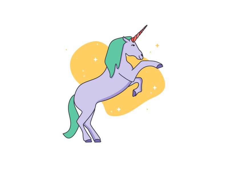 Unicorn Friend mystical fantasy line illustration unicorn colorful