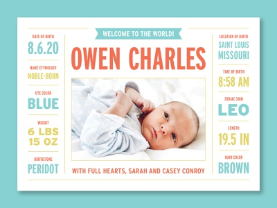 Owen's Birth Announcement infographic colorful design children child data baby statistics welcome card owen birth announcement birth