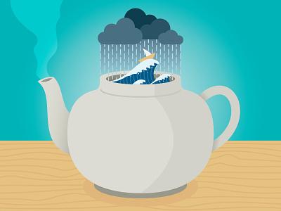 Tempest In A Teapot clouds steam idiom rain storm teapot
