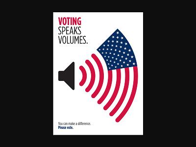 Voting Speaks Volumes stars and stripes patriotic sound waves voting volume american flag vote