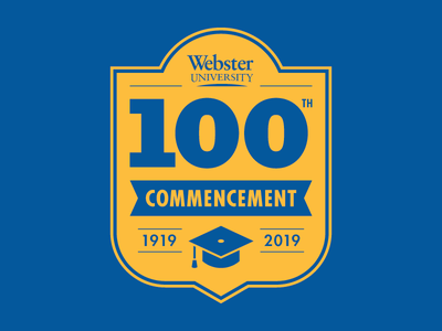 100th Commencement mortarboard education badge logo blue yellow graduation cap graduation commencement