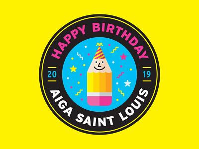 AIGA Saint Louis' Birthday eraser confetti party hat aiga party cmyk character pencil birthday