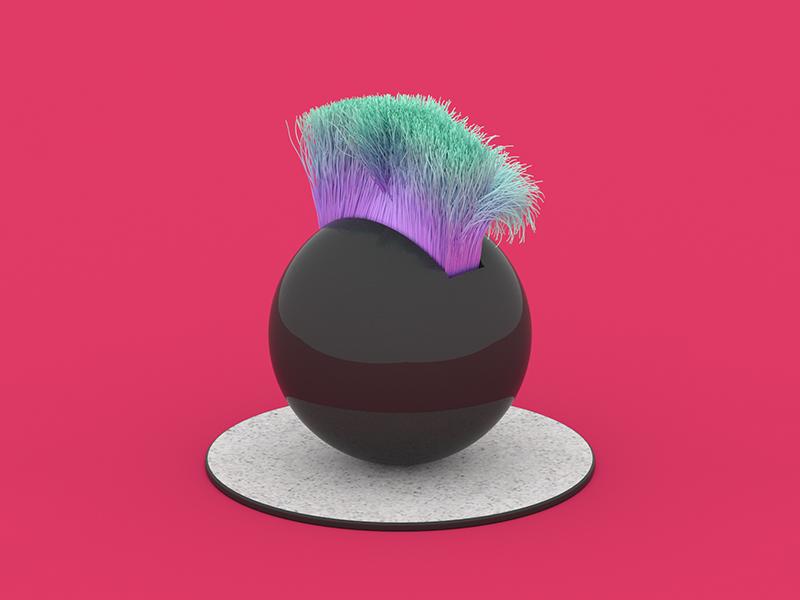 Punky haircut. render redshift3d redshift maxon3d maxon hairs haircut funky colors cinema4d c4d 3d