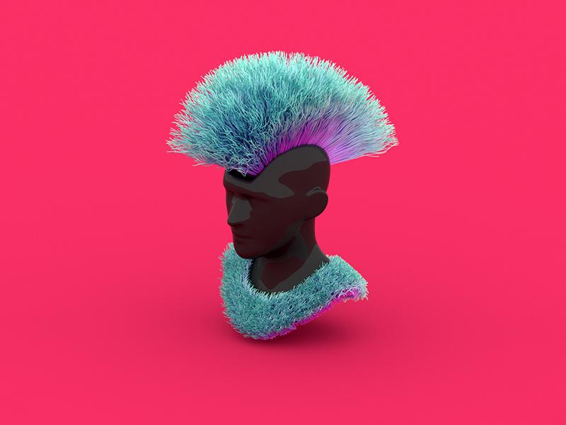 Funky Iroquois. render redshift3d redshift maxon3d maxon hairs haircut funky colors cinema4d c4d 3d
