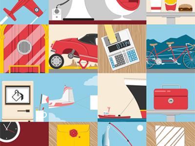 Objects features illustrator vectors illustration flat