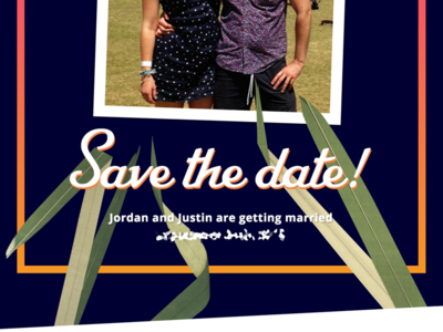Save the date california los angeles gradient photo collage save the date wedding