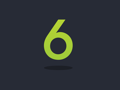 Six Overground number flat floating icon logo six