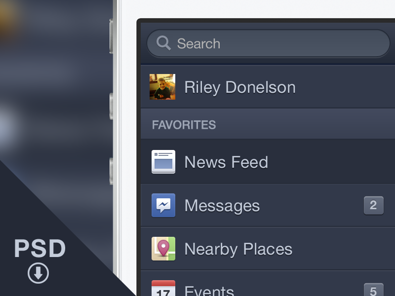 Facebook iOS Menu - Free PSD free psd facebook menu ios iphone download freebie psddd