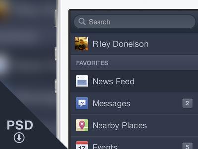 Facebook iOS Menu - Free PSD