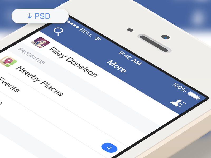 Free PSD - Facebook iOS7 More Menu freebies free psd facebook ios7 iphone mobile menu psddd
