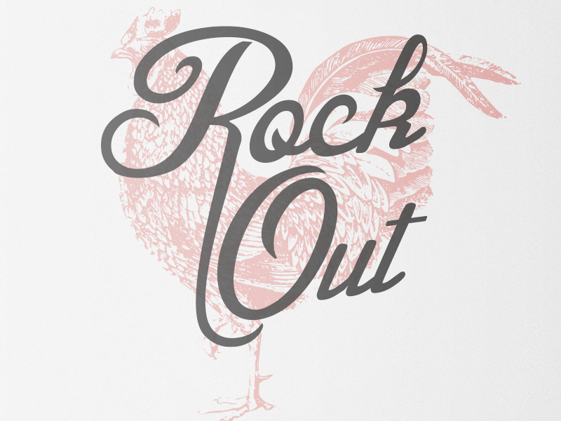 Rock Out Print rock typography rooster poster