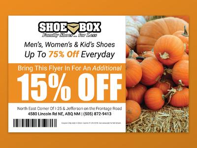 Shoe Box Halloween Coupon design branding typography print ad