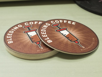 Bleeding Coffe Coasters minimal branding icon vector typography illustration marketing graphic  design product design stickermule