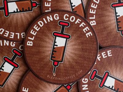 Bleeding Coffee Coaster Pile logo graphic  design vector typography branding minimal marketing illustration design