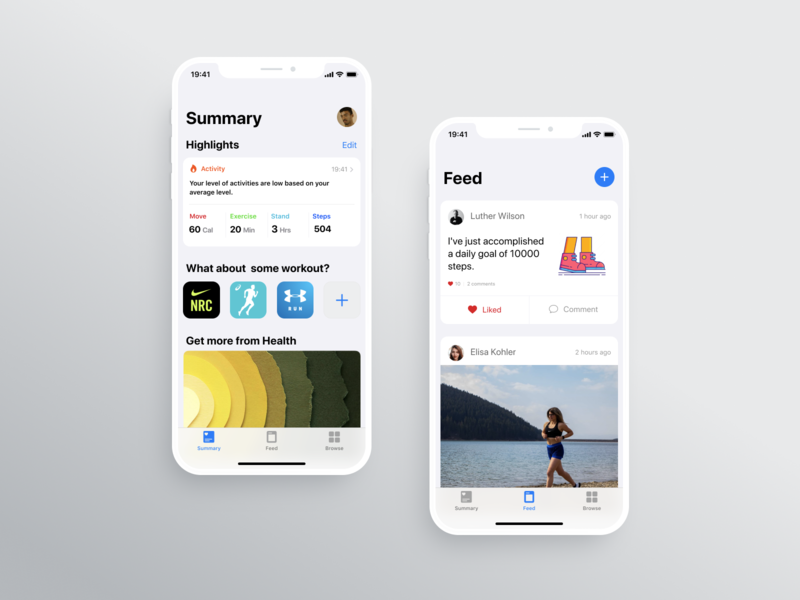 Health mobile app from Apple boosted up fitness fit health app healthcare feed exercises apple health mobile ux design dailyuichallenge dailyui app ui