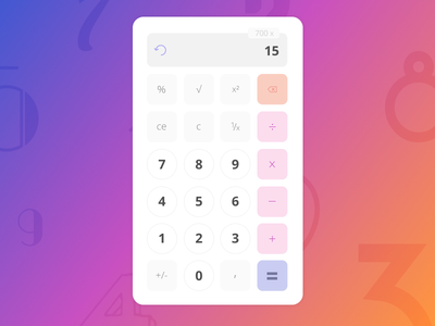 Daily UI Challenge #004 — Calculator ui calculator dailyuichallenge dailyui004 dailyui colors mathematics math numbers gradient