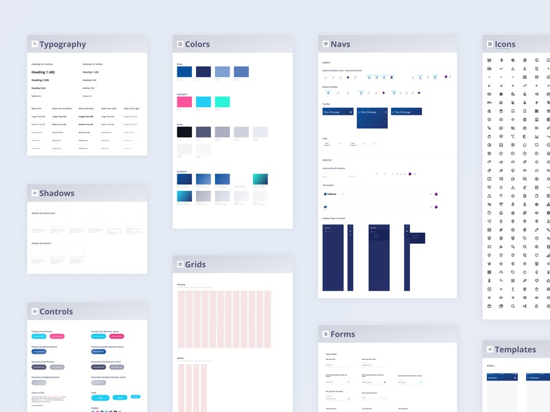 Design System Multicast icons color palette typography navbar nav brand system app token branding design resources tokens ui design system