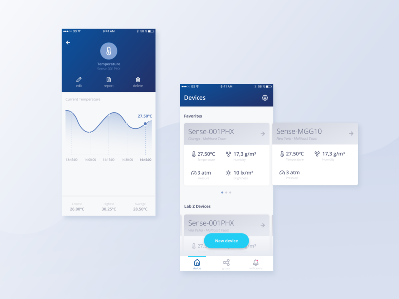 Devices list and detailed info for app dashboard chart ux ui devices list minimal design clean app