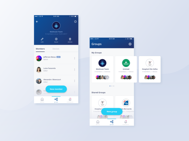 Settings and management of people, groups and devices nav members users people groups ux ui minimal list devices design dashboard clean chart app