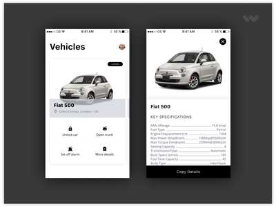 Mobile app to manage your vehicles app mobile vehicles cars mobility ux ui