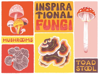 Fungi 70s typography 70s colors 70s inspired by nature toadstool procreate lettering mushrooms mushroom fungus fungi illustration