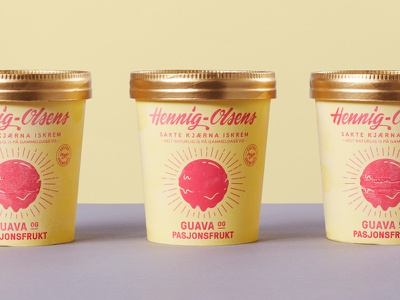 Guava and Passionfruit Ice Cream ice cream retro packaging design packaging package two color illustration hennig-olsen