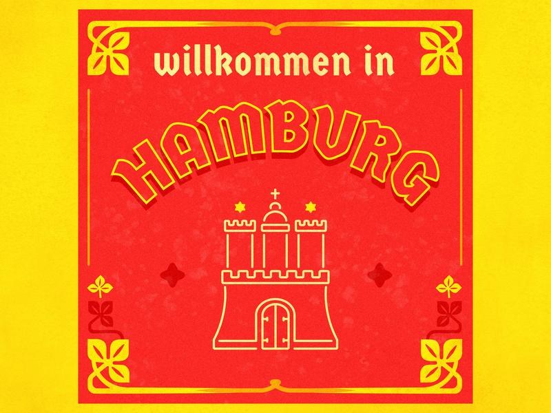 Hallo Germany citytypography postcard typography red yellow castle graphic  design germany city illustration hamburg