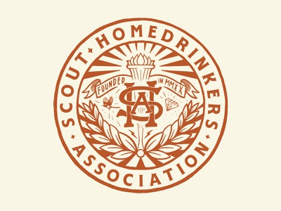 Scout Homedrinkers Association Crest vintage typography vector drawing branding design illustration graphicdesign