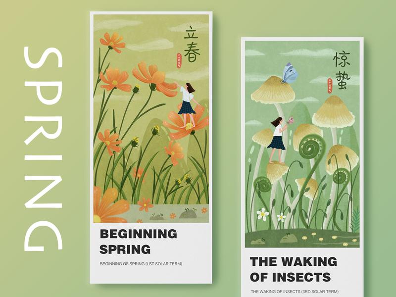 spring design girl mushroom flowers card green spring draw ui illustration