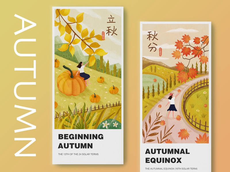 Twenty-four solar terms mountain design card autumn flowers app girl 24 ui draw illustration