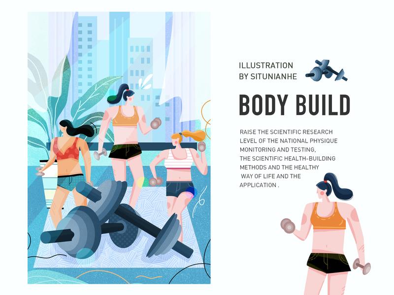 Scientific Fitness vector characters characterdesign ui draw body building design illustration