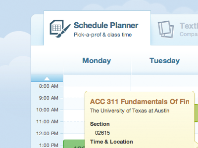 Big Tabs as headers tabs ui app schedule planner university college