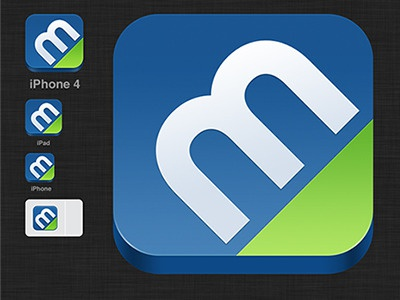 iPhone app icon ios icon iphone 3d badge blue green