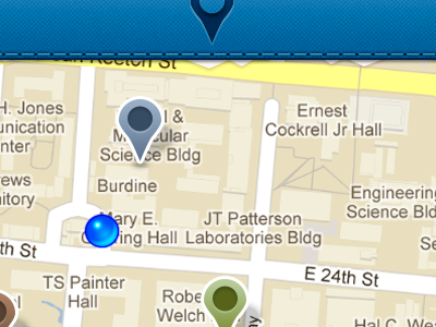 Nearby V2 map plots google maps mobile iphone torn edge paper tab bars add location checkin