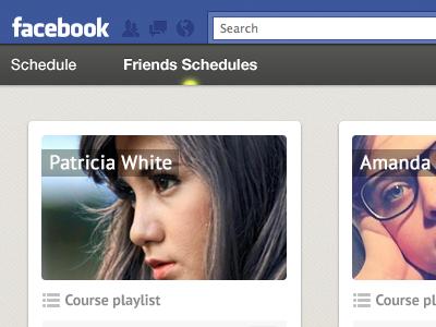 Facebook App schedule courses facebook app facebook schedule planning courses cards playlist