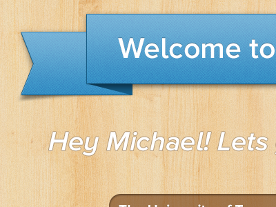 Welcome User!  blue ribbon wood engrave emboss facebook app ios texture pattern noise drop shadow