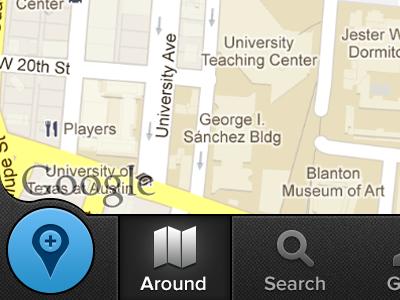 Add a location button nav bar ios iphone retina blue maps around