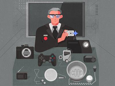 Masaru Ibuka. Design for WeAreRoyale social. innnovation electronic playstation discman walkman sony masaru ibuka vector illustration design