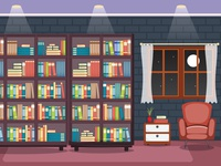 Library Room Interior Stack Of Book On Bookshelf Flat Design 04