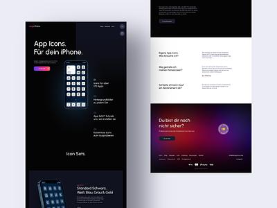 desIgnPhone Landingpage / App Icon Shop typography website clean minimal web designer web ux design ui design phone mobile icons dark theme shop ecommerce webdesign landingpage app icon iphone ux ui