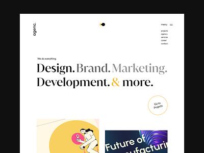 agenc Hero Header / Landingpage development marketing brand agency digital dark theme light theme webdesign ux design ui design header hero typography clean minimal clean design ux ui landingpage adobe xd