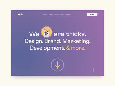 tricks Hero Header / Landingpage headline dog agency website website landingpage modern clean minimal ui design ux design typography clean design adobe xd ux ui webdesign header hero tricks agency