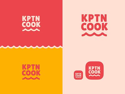 KptnCook Logo Redesign Concept red logo branding concept clean brand app logo recipe minimal logomark logotype logodesign icons app icon illustration brand identity wave typography branding logo cook 2021 design