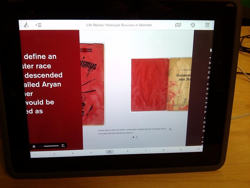Side-scrolling iPad app ui ipad holocaust wwii tablet